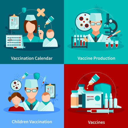 Vaccination flat 2x2 design concept with vaccination calendar and set of medical tools and vaccine products vector illustration Illustration