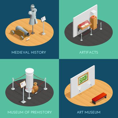 Compositions Musée 2x2 présentant différentes expositions préhistoire artefacts d'histoire médiévale et l'art isométrique illustration vectorielle Banque d'images - 61084729