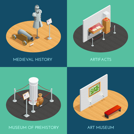Museum 2x2 compositions presenting different exhibitions prehistory medieval history artifacts and art isometric vector illustration Illustration