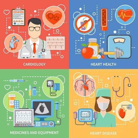 heart health: Colorful cardiology flat 2x2 icons set with cardiologists medicines and equipment for heart health and treatment isolated vector illustration Illustration