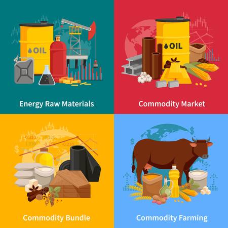 Una variedad de mercancías plana concepto de diseño 2x2 con los productos agrícolas y materiales de elaboración industrial ilustración vectorial