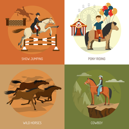 mustang horses: Horse breeds concept 4 flat icons square with equestrian show jumping and pony riding abstract isolated vector illustration