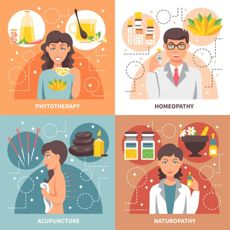 phytotherapy: Alternative medicine 2x2 concept set of homeopathy phytotherapy naturopathy acupuncture  flat design compositions vector illustration