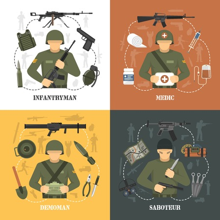 infantryman: Military army war video games characters 4 flat icons square with saboteur and demoman isolated vector illustration
