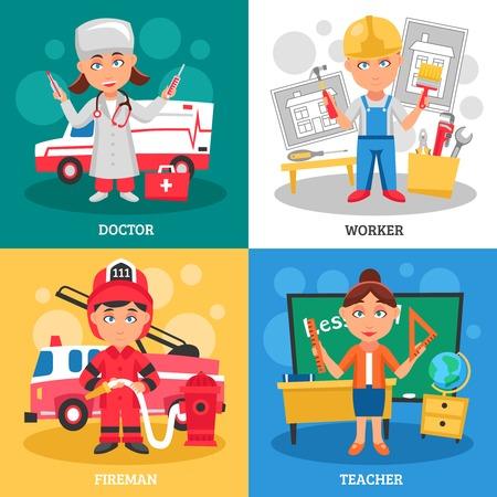 Profesiones para niños 2x2 concepto de diseño plano con el maestro médico bombero y composiciones cuadrados ilustración vectorial de dibujos animados trabajador Ilustración de vector