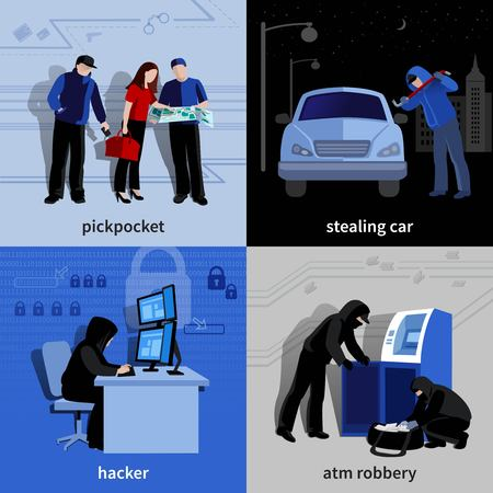 pickpocket: Various burglars and criminals committing crimes 2x2 flat isolated icons set vector illustration