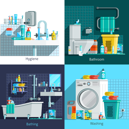 linen: Orthogonal hygiene icons 2x2 flat concept set of hygiene bathroom washing and bathing design compositions vector illustration