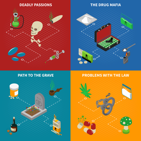 deadly: Drugs addiction concept icons set with deadly passions symbols isometric isolated vector illustration