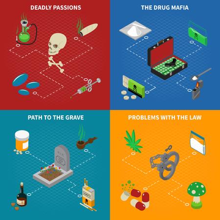 éxtasis: Iconos de la adicción a las drogas concepto fijaron con pasiones mortales símbolos ilustración del vector aislado isométrica