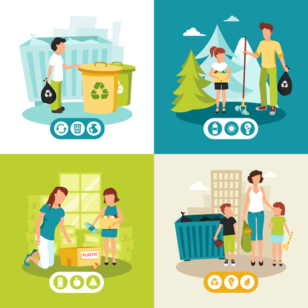the energy center: Batteries plastic and domestic waste collection for recycling concept 4 flat icons square abstract isolated vector illustration