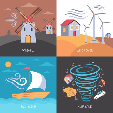 Color flat composition 2x2 depicting wind power windmill hurricane sailing ship vector illustration 向量圖像