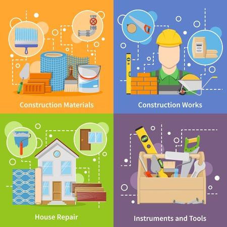 materiales de construccion: Diseño plano colorido construcción iconos materiales 2x2 establecidos con los instrumentos y herramientas para la ilustración vectorial aislado reparación de la casa Vectores
