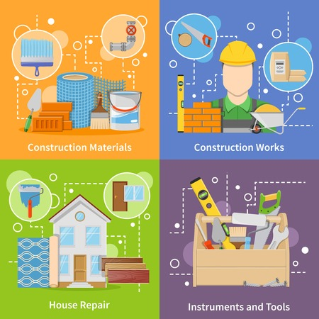 construction materials: Flat design colorful construction materials 2x2 icons set with instruments and tools for house repair isolated vector illustration Illustration
