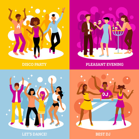 pleasant: Disco party concept icons set with dancing and pleasant evening symbols flat isolated vector illustration Illustration