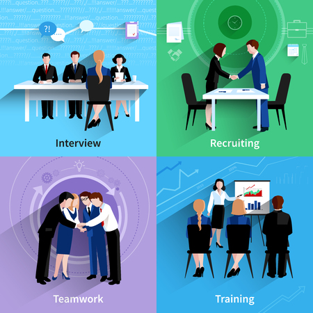 Human resources interview recruiting and teamwork training 4 flat icons square composition banner abstract isolated vector illustration