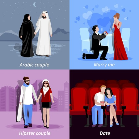 spending: Happy couples spending time together in romantic atmosphere 2x2 flat icons set isolated vector illustration Illustration