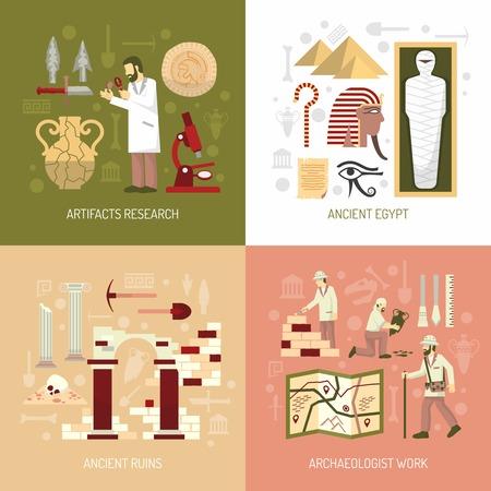 Color plano composición 2x2 que representa la arqueología artefactos investigación concepto antiguo Egipto arruina ilustración vectorial Ilustración de vector
