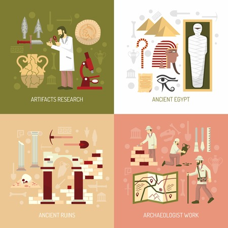 Color flat composition 2x2 depicting archeology concept artifacts research ancient egypt ruins vector illustration Illustration