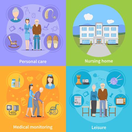 pensionado: Hogar de ancianos 2x2 concepto de diseño con las composiciones de ocio de vigilancia y pensionistas médica cuidado de los ancianos personal ilustración vectorial plana