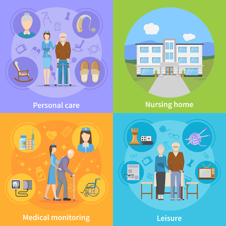 Nursing home 2x2 design concept with personal elderly care medical monitoring and pensioners leisure compositions flat vector illustration Illustration