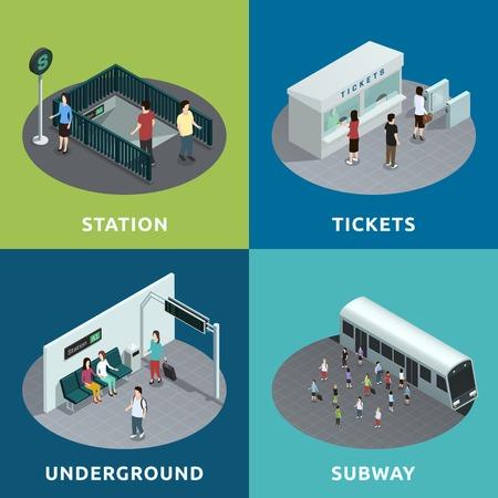 underground: Color isometric design concept 2x2 depicting  roon of metro atation tickets underground subway vector illustration Illustration