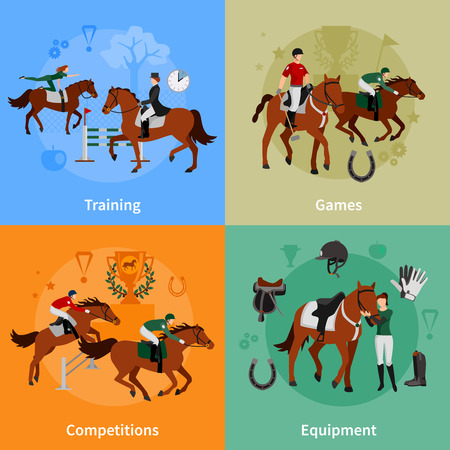 derby hats: Horse rising sport 2x2 flat concept set of jockey equipment training games competitions design compositions vector illustration