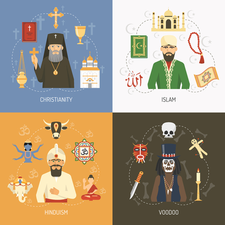 hinduism: Christianity islam and hinduism religious concept and alternative voodoo ritual symbols 4 flat icons square isolated vector illustration