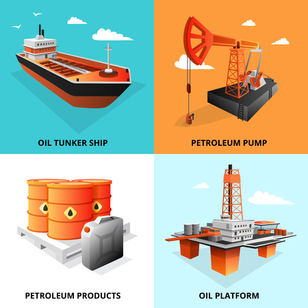 petrol pump: Petroleum industry concept 4 isometric icons square with extraction platform and oil transportation tanker isolated vector illustration Illustration