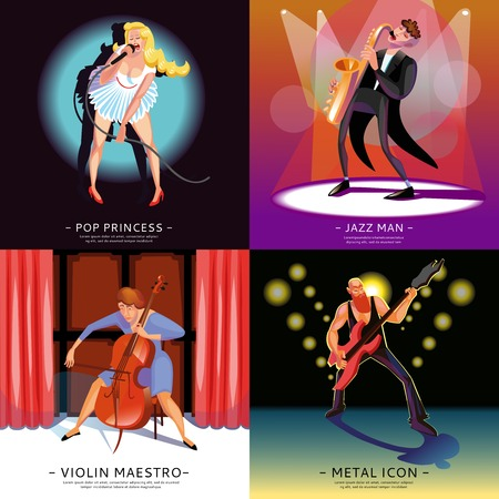 maestro: Music 2x2 concept banners presenting pop princess jazz man violin maestro and metal icon cartoon vector illustration