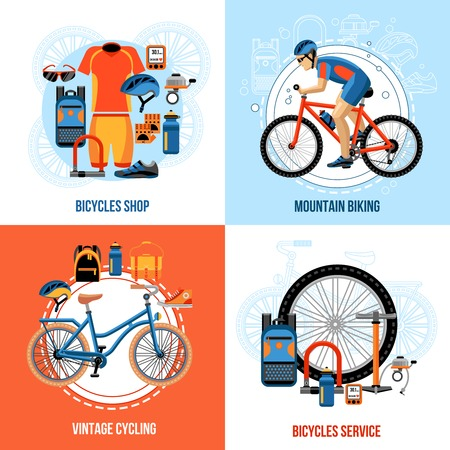 velocipede: Biking 2x2 concept set of bicycle shop vintage cycling mountain biking and bicycles service design compositions vector illustration Illustration