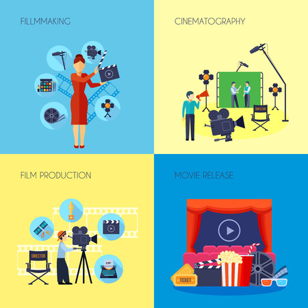 movie director: Filmmaking concept 4 flat icons square with movie director with loudspeaker and cameraman abstract isolated vector illustration Illustration