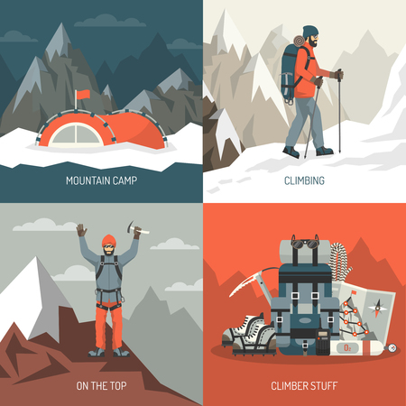 mountain climber: Color flat composition 2x2 depicting mountain camp climbing top stuff vector illustration Illustration