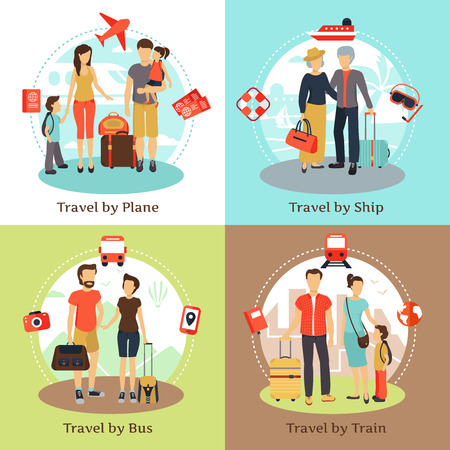 adult cruise: Travelers with baggage transportation concept 4 flat icons square with bus ship train poster abstract isolated vector illustration