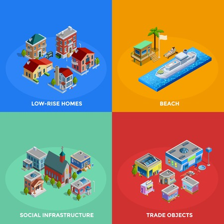 lowrise: Isometric city 2x2 icons set with low-rise and historic buildings beach and trade objects on colorful background isolated vector illustration