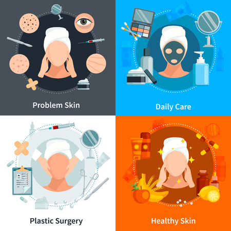 surgery concept: Skin care 2x2 flat concept set with problem skin daily care and plastic surgery design compositions vector illustration