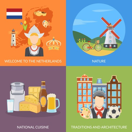 netherlands: Colorful netherlands 2x2 flat icons set depicting dutch symbols nature national cuisine and architecture isolated vector illustration