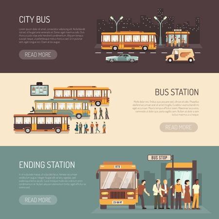 bus de ville transport public des informations de service 3 bannières horizontales plat avec station dépôt terminus isolé illustration vectorielle Vecteurs