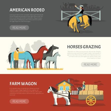 Informatie over paarden rassen omgaan met 3 horizontale banners webpagina ontwerp met weidegang en grazende systemen geïsoleerde vector illustratie
