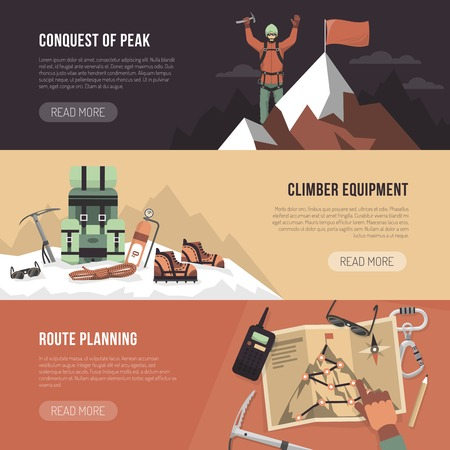 conquest: Color flat horizontal banner with title and text depicting conquest of peak climber equipment route planning vector illustartion