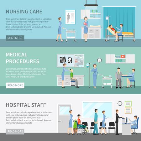 cuidado de la salud banners horizontales con los pacientes en la clínica entre enfermeras y médicos que realizan procedimientos ilustración vectorial plana