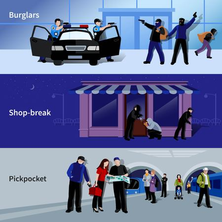 criminals: Horizontal armed burglars and criminals committing thefts in bank shop and metro flat banners isolated vector illustration