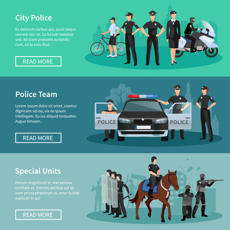 units: Police people flat horizontal banners set of special units mounted police city police and police team with official vehicles vector illustration