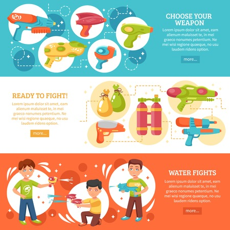 Water fights horizontal flat banners set with water guns isolated vector illustration Illustration