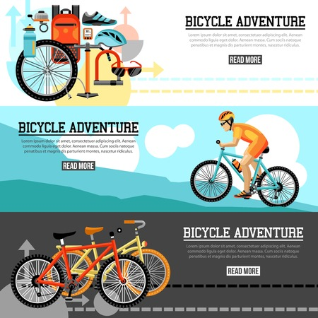 velocipede: Biking adventure horizontal banners with bicycle set velocipede accessories and  traveling biker at mountain landscape compositions vector illustration