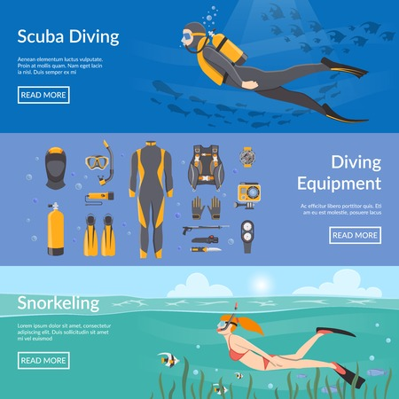 equipment: Diving and snorkeling advertising horizontal banners with diving equipment presentation and people figures with aqualung snorkel and flippers flat vector illustration
