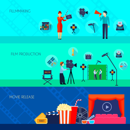 action movie: Filmmaking and making movie available for audience on release day 3 flat banners set isolated vecor illustration