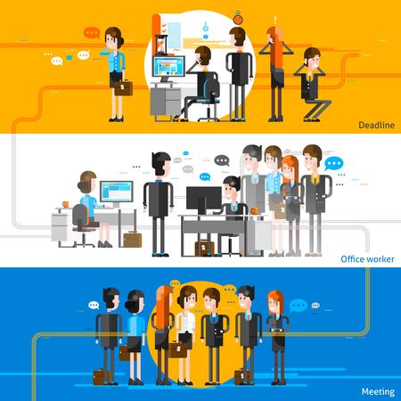 Office mensen cartoon horizontale banners met werknemers groepen die deelnemen aan zakelijke bijeenkomst en corporate workflow platte vector illustratie