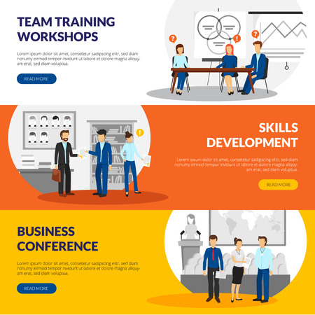 concise: Business training consulting skill development workshops information 3 flat horizontal banners webpage design abstract isolated vector illustration
