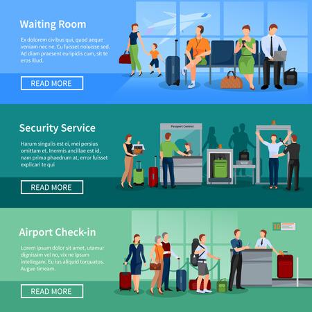 待合室セキュリティ スクリーニングおよび登録サービス ベクトル図で乗客の空港の人々 フラット水平方向のバナー セット  イラスト・ベクター素材