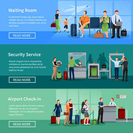 Airport people flat horizontal banners set of passengers in waiting room security screening and registration service vector illustration Illustration